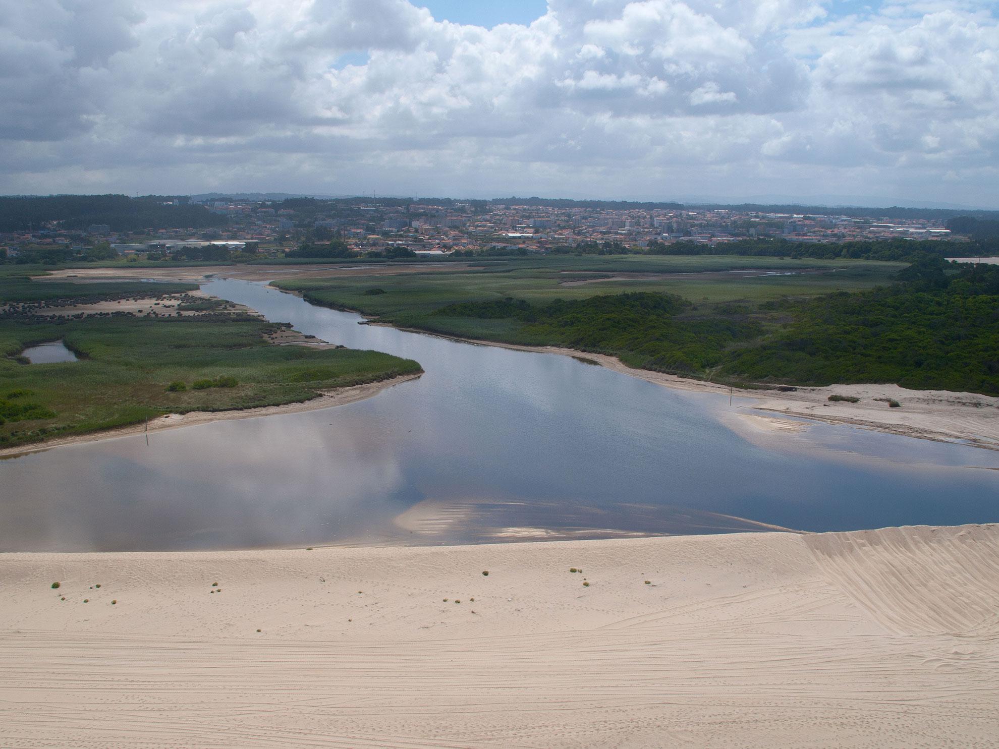 Barrinha de Esmoriz / Lagoa de Paramos e sua interligação com o sistema dunar.